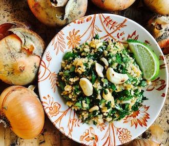 Wildkräuterspinat mit Couscous